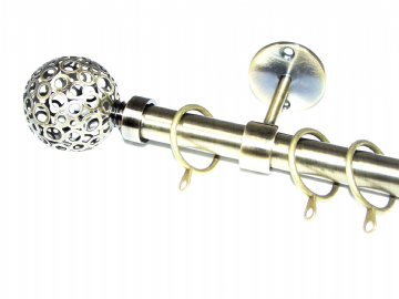 19mm Antique Brass Ceiling Curtain Pole with Circle Ball Finials 1.2m 1.5m 2.4m 3m